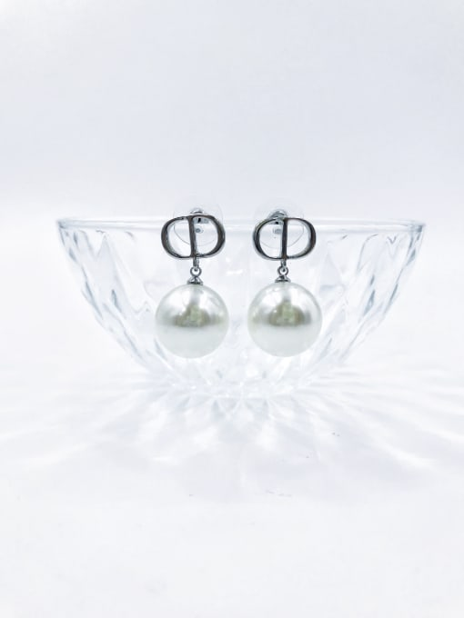 VIENNOIS Brass Imitation Pearl White Letter Trend Drop Earring 0