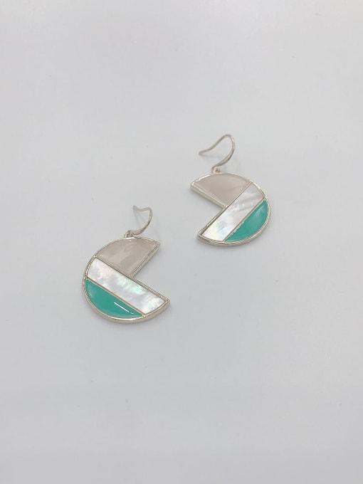 VIENNOIS Zinc Alloy Shell White Enamel Geometric Trend Hook Earring