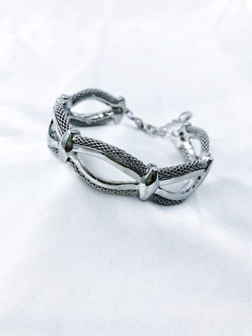 Silver Zinc Alloy Irregular Band Bangle
