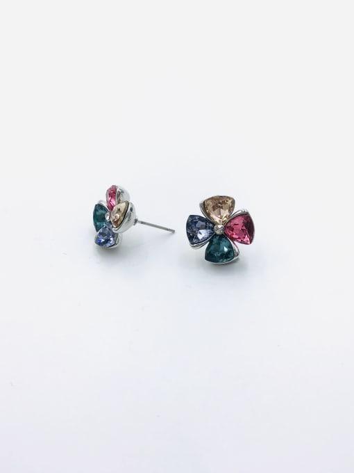 RHODIUM+CHAMPAGNE+PURPLE+BLUE+RED Zinc Alloy Glass Stone Clear Flower Cute Stud Earring
