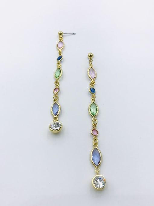 VIENNOIS Zinc Alloy Glass Stone Multi Color Geometric Trend Drop Earring