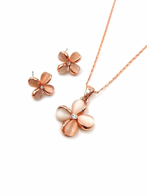 VIENNOIS Dainty Flower Zinc Alloy Cats Eye White Earring and Necklace Set 0