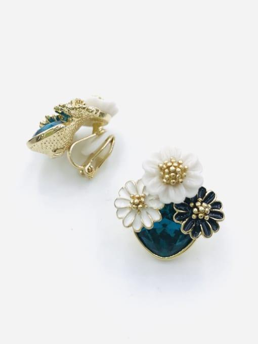 Blue Zinc Alloy Glass Stone Red Enamel Flower Trend Clip Earring