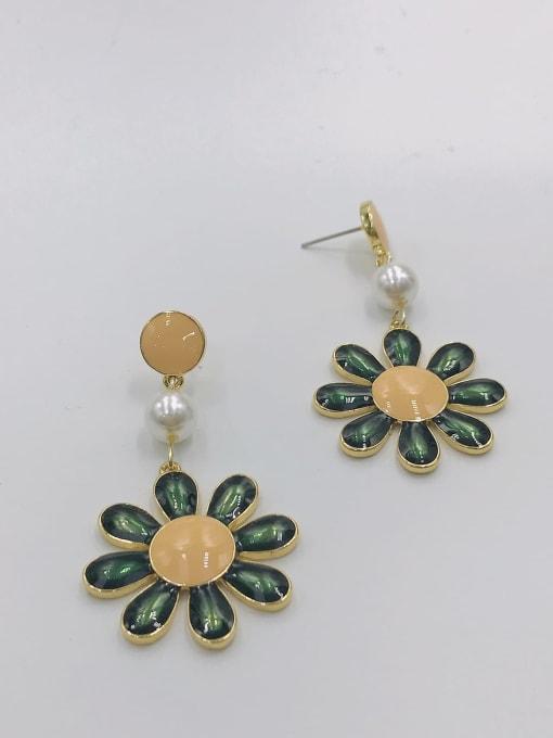 gOLD+ORANGE+DARK GREEN Zinc Alloy Imitation Pearl White Enamel Flower Trend Drop Earring