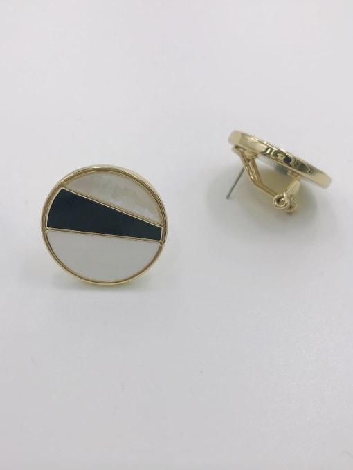 GOLD+WHITE+BLACK Zinc Alloy Shell White Enamel Round Minimalist Clip Earring