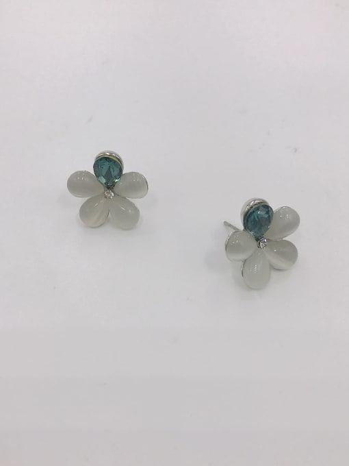 IMITATION RHODIUM+BLUE+WHITE Zinc Alloy Cats Eye White Flower Dainty Stud Earring