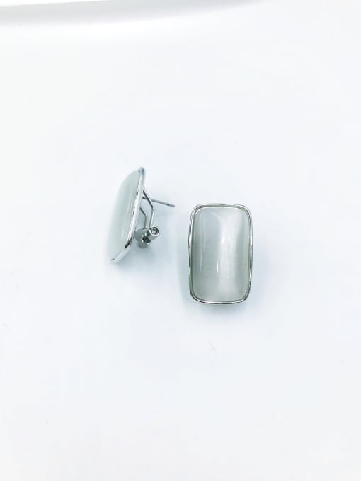 VIENNOIS Brass Cats Eye White Rectangle Minimalist Clip Earring 2
