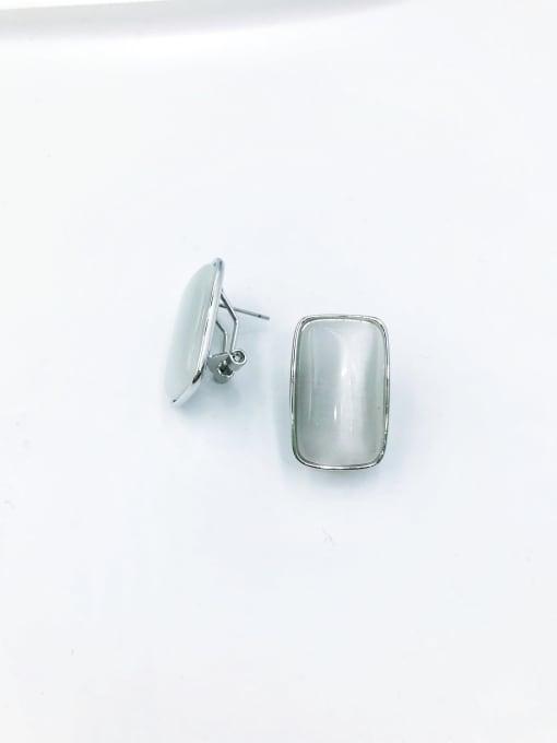 imitation rhodium Brass Cats Eye White Rectangle Minimalist Clip Earring