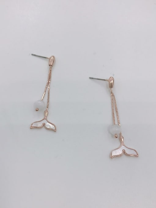 VIENNOIS Brass Shell White Trend Drop Earring 1