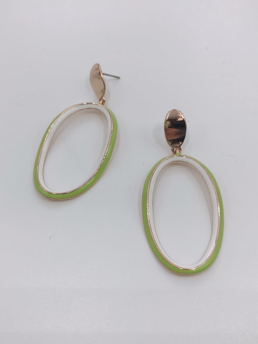 ROSE GOLD+GREEN+WHITE Zinc Alloy Enamel Oval Minimalist Drop Earring