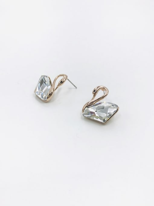 Clear Zinc Alloy Swarovski Zirconia Clear Swan Trend Stud Earring