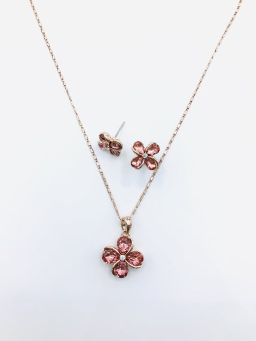 VIENNOIS Dainty Flower Zinc Alloy Glass Stone Red Earring and Necklace Set 0