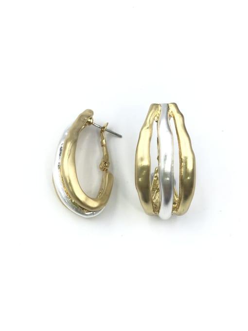 gold+silver Zinc Alloy Irregular Minimalist Huggie Earring