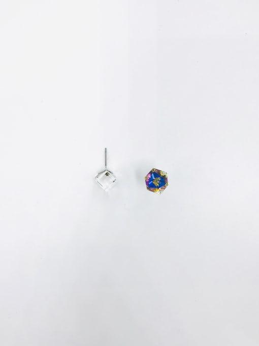 VIENNOIS Brass Swarovski Crystal Multi Color Irregular Minimalist Solitaire Earring