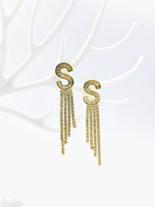 VIENNOIS Brass Cubic Zirconia White Tassel Dainty Drop Earring