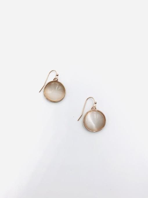 VIENNOIS Zinc Alloy Cats Eye White Round Minimalist Hook Earring 0