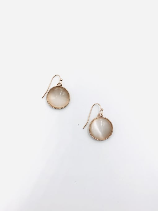 VIENNOIS Zinc Alloy Cats Eye White Round Minimalist Hook Earring
