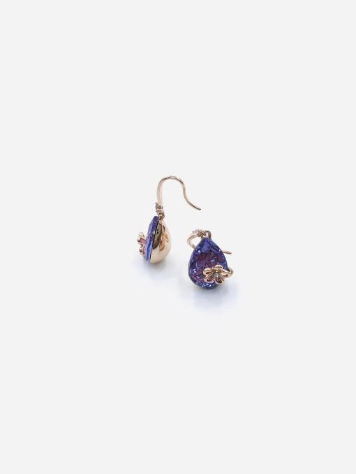 VIENNOIS Zinc Alloy Glass Stone Purple Water Drop Dainty Hook Earring 0