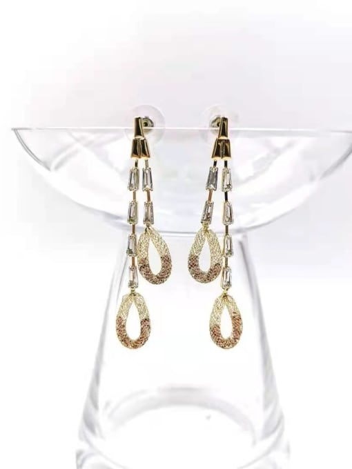 Gold +red stone+clear stone Brass Cubic Zirconia Red Tassel Trend Drop Earring