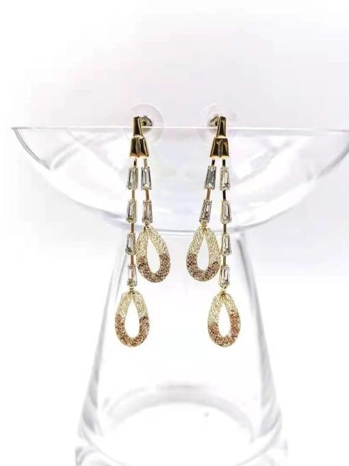 VIENNOIS Brass Cubic Zirconia Red Tassel Trend Drop Earring 0