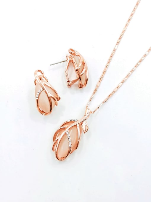 White Trend Leaf Zinc Alloy Cats Eye White Earring and Necklace Set