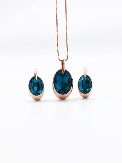 VIENNOIS Minimalist Oval Zinc Alloy Glass Stone Blue Earring and Necklace Set
