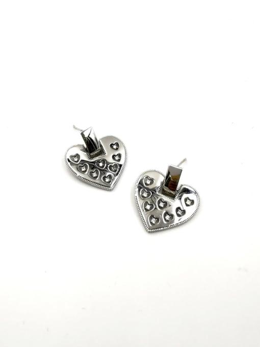 Silver Brass Cubic Zirconia Clear Heart Trend Stud Earring