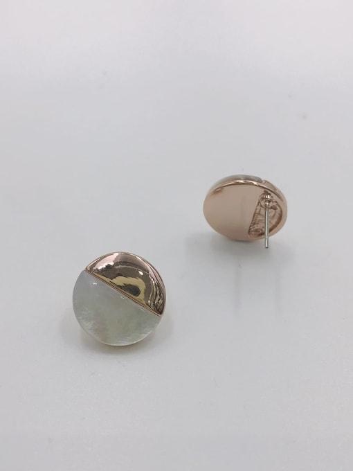 VIENNOIS Zinc Alloy Shell White Round Minimalist Stud Earring 0