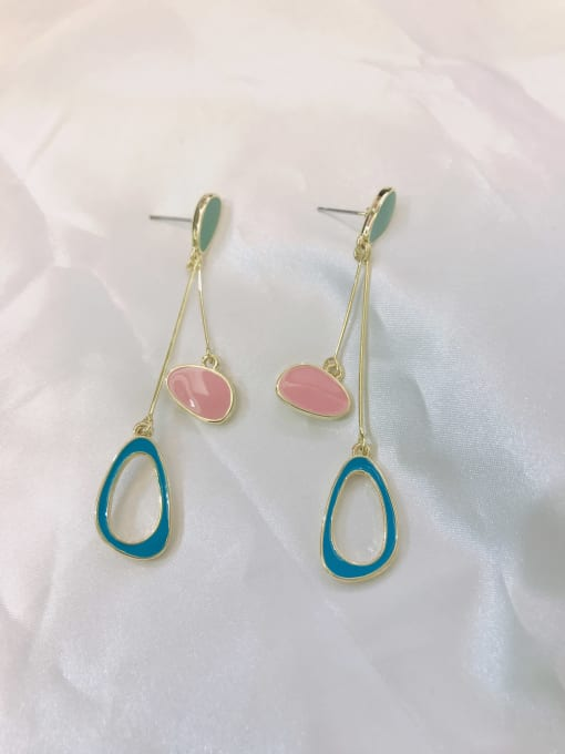 GOLD+GREEN+BLUE+PINK Zinc Alloy Enamel Geometric Minimalist Drop Earring