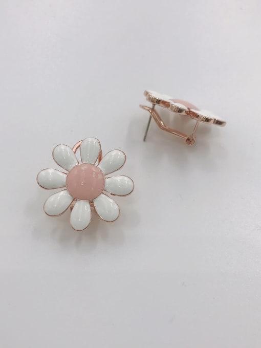 ROSE GOLD+WHITE+PINK Zinc Alloy Enamel Flower Trend Clip Earring