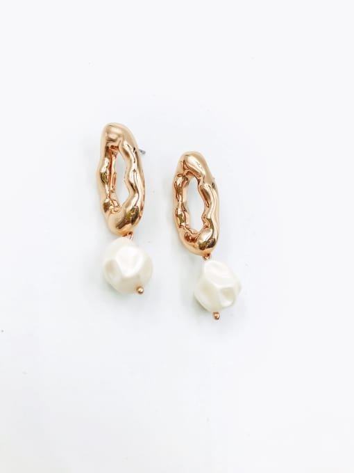 VIENNOIS Zinc Alloy Imitation Pearl White Irregular Trend Drop Earring 1