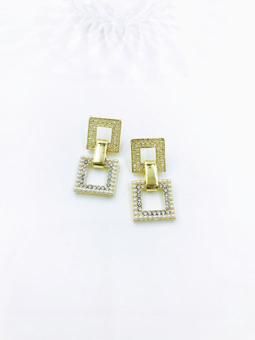 VIENNOIS Brass Imitation Pearl White Square Trend Drop Earring 0
