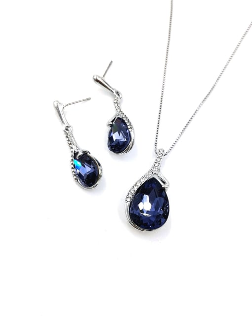 VIENNOIS Water Drop Zinc Alloy Glass Stone Purple Earring and Necklace Set 0