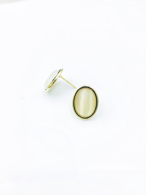 VIENNOIS Zinc Alloy Cats Eye White Oval Minimalist Stud Earring 0