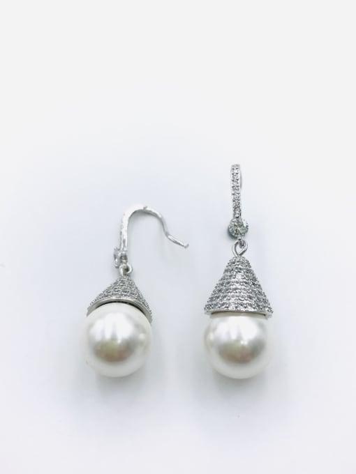 Silver Brass Imitation Pearl White Water Drop Dainty Hook Earring