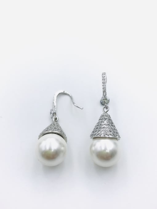 VIENNOIS Brass Imitation Pearl White Water Drop Dainty Hook Earring