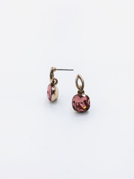 Red Zinc Alloy Glass Stone Red Square Minimalist Drop Earring