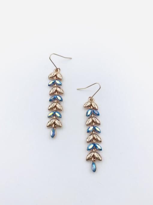 Rose Zinc Alloy Swarovski Crystal Multi Color Leaf Dainty Hook Earring