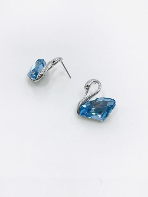 Blue Zinc Alloy Swarovski Zirconia Clear Swan Trend Stud Earring