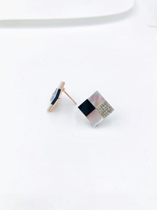 Rose Zinc Alloy Shell White Acrylic Square Dainty Stud Earring