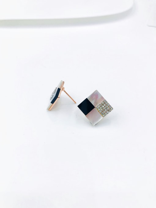 VIENNOIS Zinc Alloy Shell White Acrylic Square Dainty Stud Earring 0