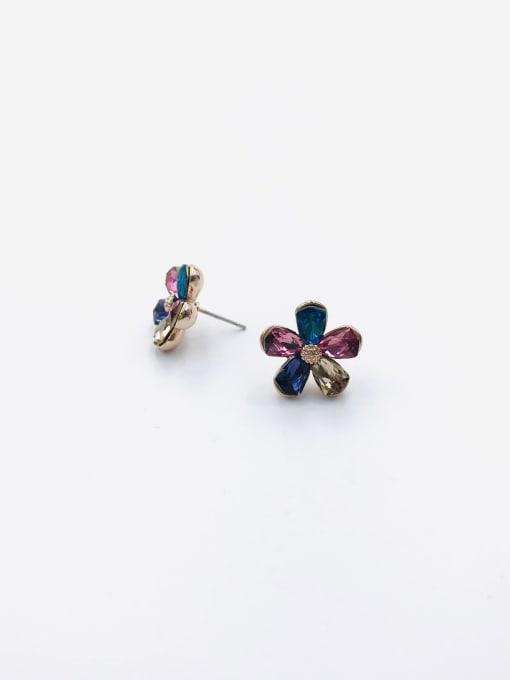 VIENNOIS Zinc Alloy Glass Stone Multi Color Flower Dainty Stud Earring 0