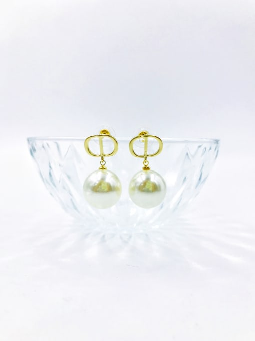 Gold Brass Imitation Pearl White Letter Trend Drop Earring