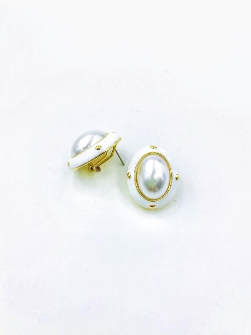 GOLD+WHITE Zinc Alloy Imitation Pearl White Enamel Oval Classic Clip Earring