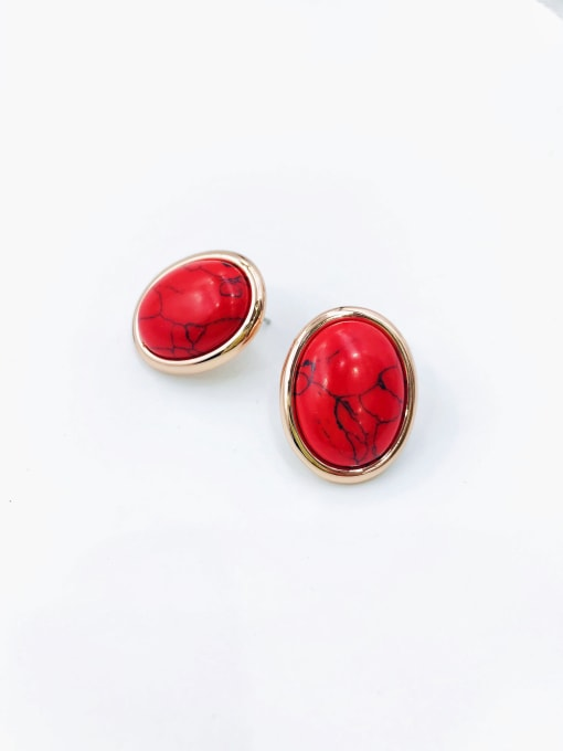 rose gold+red stone Zinc Alloy Oval Classic Stud Earring