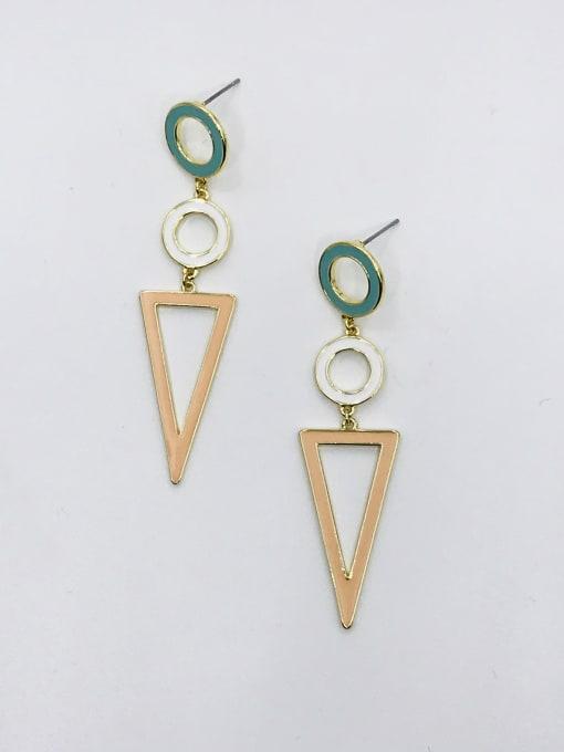 GOLD+BLUE+WHITE+ORANGE Zinc Alloy Enamel Triangle Minimalist Drop Earring