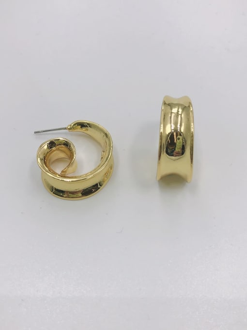 Gold Zinc Alloy Irregular Minimalist Stud Earring