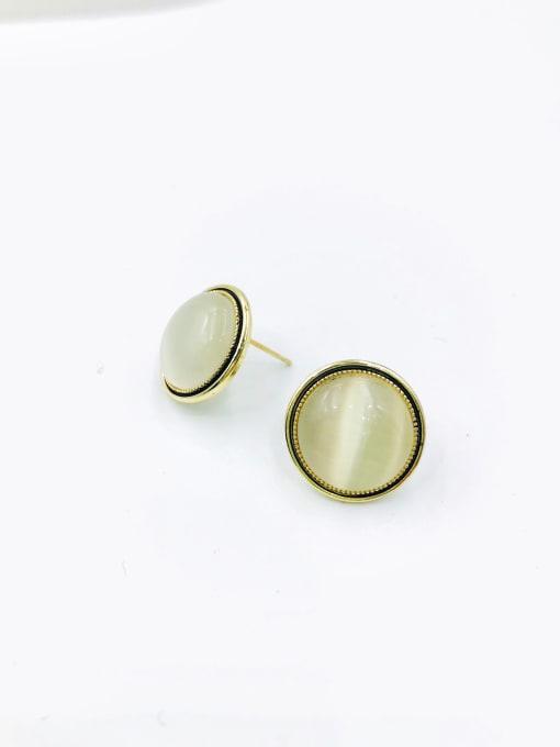 Gold Zinc Alloy Cats Eye White Round Minimalist Stud Earring