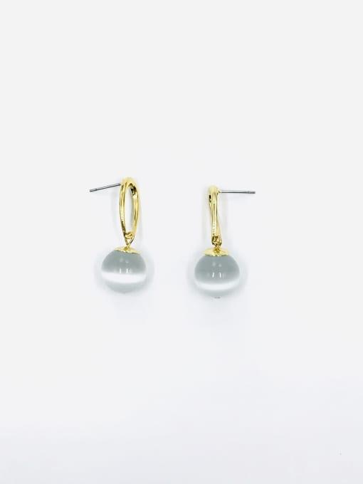 Gold Zinc Alloy Cats Eye White Water Drop Minimalist Drop Earring