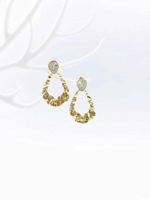 gold+white glass Brass Glass Stone White Irregular Trend Drop Earring